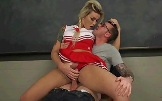 Slutty Cheerleader Bribes Tutor With An Athletic Assfucking