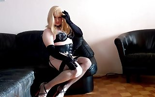 Crossdresser solo hot action