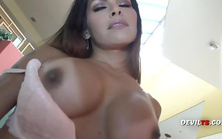 Busty round tits shemale masturbates